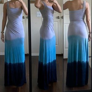 Sky navy light blue tie dye crochet maxi dress